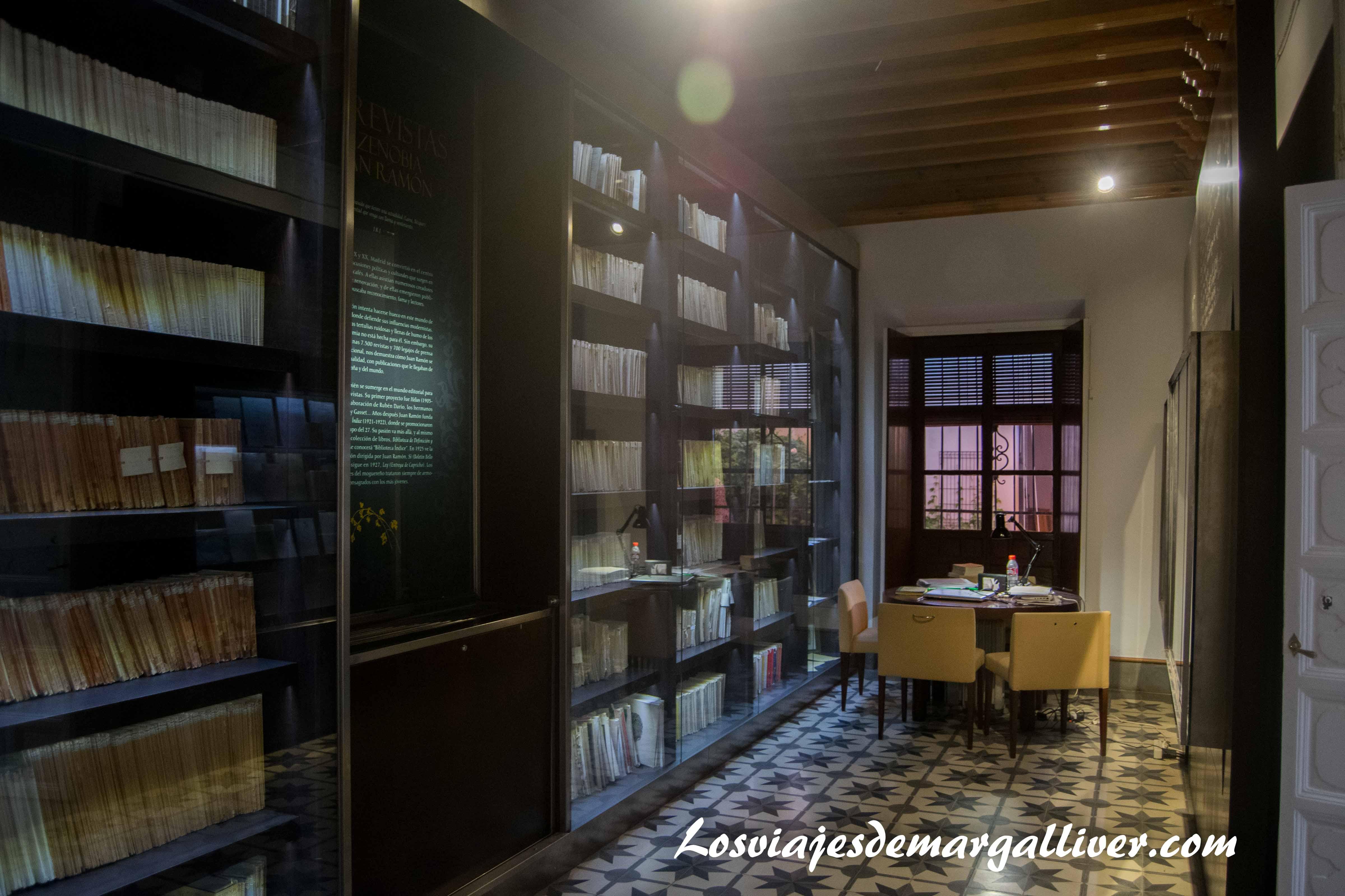 BIblioteca de la casa museo JR Jiménez - Zenobia en Moguer - Los viajes de Margalliver